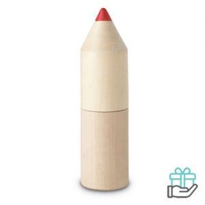 12 Kleurpotloden houten doos houtkleur bedrukken