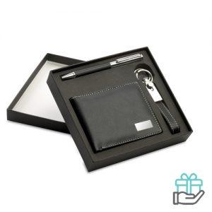 3-Delige PU cadeauset zwart bedrukken