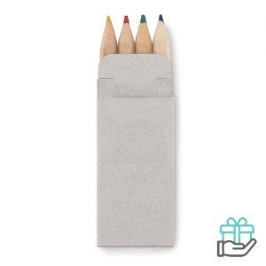 4 Mini kleuren potloodjes beige bedrukken