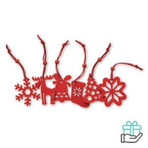 6 Vilten kersthangers rood bedrukken