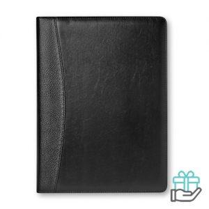A4 Imitatielederen schrijfmap zwart bedrukken