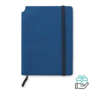 A5 PU notitieboek blauw bedrukken