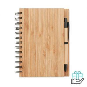 A5 bamboe notitieboek houtkleur bedrukken