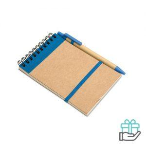 A5 notitieblok eco balpen blauw bedrukken