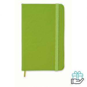 A5 notitieboek PU cover gelinieerd limegroen bedrukken