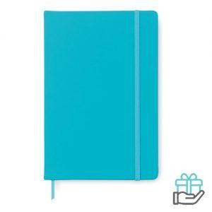 A5 notitieboek PU cover gelinieerd turquoise bedrukken