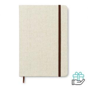 A5 notitieboek canvas gelinieerd beige bedrukken