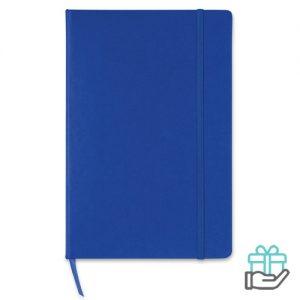 A5 notitieboek gekleurd lint blauw bedrukken