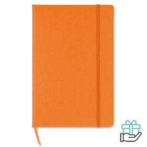 A5 notitieboek gekleurd lint oranje bedrukken