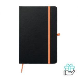 A5 notitieboek gelinieerd oranje bedrukken