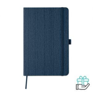 A5 notitieboek houtstructuur blauw bedrukken