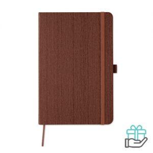 A5 notitieboek houtstructuur bruin bedrukken