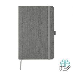 A5 notitieboek houtstructuur grijs bedrukken