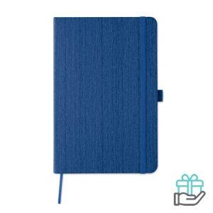 A5 notitieboek houtstructuur koninklijk blauw bedrukken