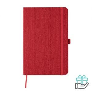 A5 notitieboek houtstructuur rood bedrukken