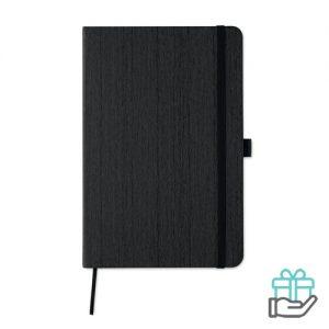 A5 notitieboek houtstructuur zwart bedrukken