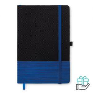 A5 notitieboek non-woven gelinieerd blauw bedrukken
