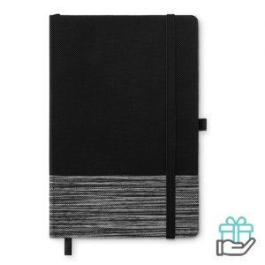 A5 notitieboek non-woven gelinieerd grijs bedrukken
