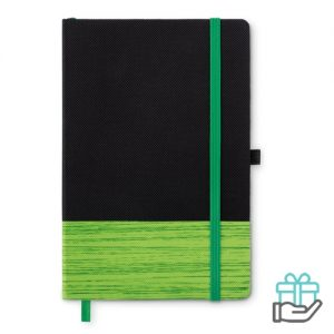 A5 notitieboek non-woven gelinieerd limegroen bedrukken