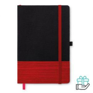 A5 notitieboek non-woven gelinieerd rood bedrukken