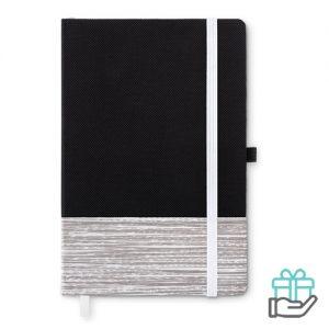 A5 notitieboek non-woven gelinieerd wit bedrukken