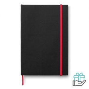 A5 notitieboek papieren kaftgelinieerd rood bedrukken