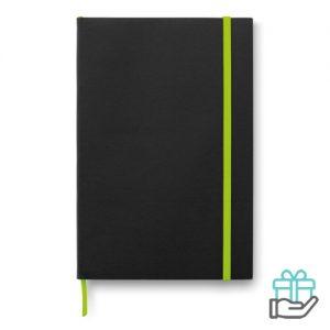 A5 notitieboek papieren kaft limegroen bedrukken