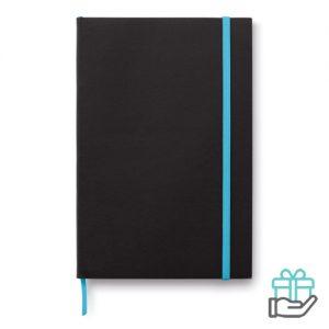 A5 notitieboek papieren kaft turquoise bedrukken