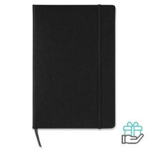 A5 notitieboek ruitjespapier zwart bedrukken