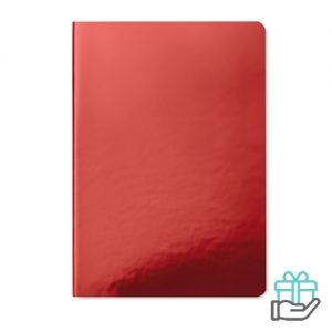 A5 notitieboek softcover gelinieerd rood bedrukken