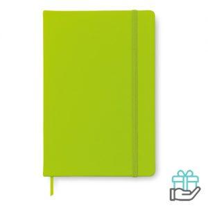 A5 notitieboekje PU cover blanco limegroen bedrukken