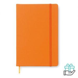 A5 notitieboekje PU cover blanco oranje bedrukken