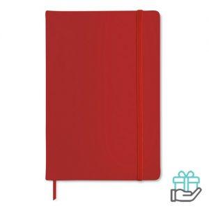 A5 notitieboekje PU cover blanco rood bedrukken