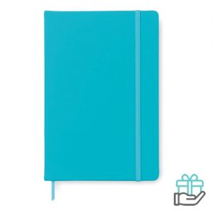 A5 notitieboekje PU cover blanco turquoise bedrukken