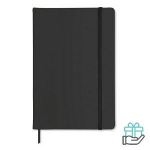A5 notitieboekje PU cover blanco zwart bedrukken
