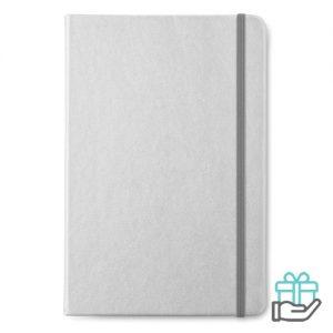 A5 notitieboekje PU gelinieerd mat zilver bedrukken