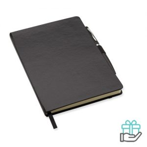 A5 notitieboekje balpen gelinieerd zwart bedrukken