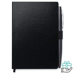 A6 notitieboekje kartonnen kaft gelinieerd zwart bedrukken