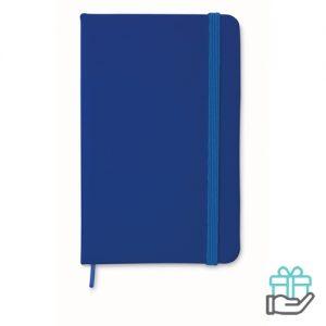 A6 notitieboekje linten boekenlegger blauw bedrukken