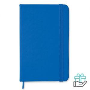 A6 notitieboekje linten boekenlegger koninklijk blauw bedrukken