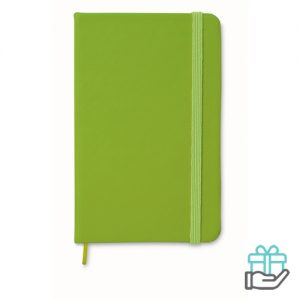 A6 notitieboekje linten boekenlegger limegroen bedrukken