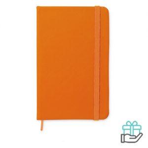 A6 notitieboekje linten boekenlegger oranje bedrukken