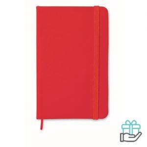 A6 notitieboekje linten boekenlegger rood bedrukken