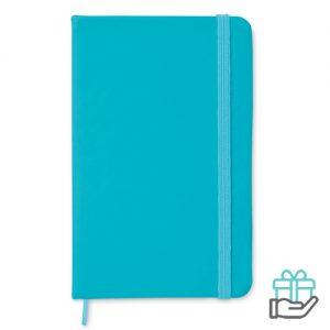 A6 notitieboekje linten boekenlegger turquoise bedrukken