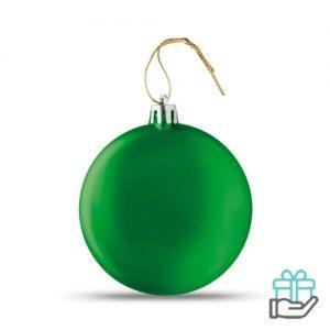 Afgeplatte kerstbal groen bedrukken