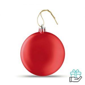 Afgeplatte kerstbal rood bedrukken