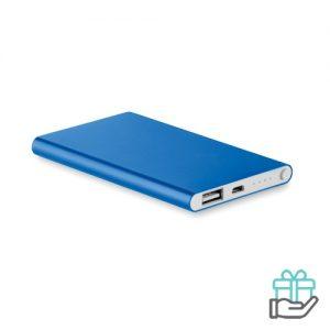 Alu PowerBank 4000mAh koninklijk blauw bedrukken