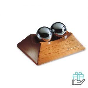 Anti-stressballenset houtkleur bedrukken