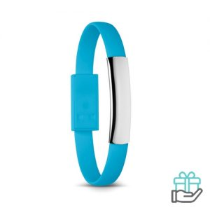 Armband micro USB turquoise bedrukken