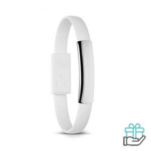 Armband micro USB wit bedrukken
